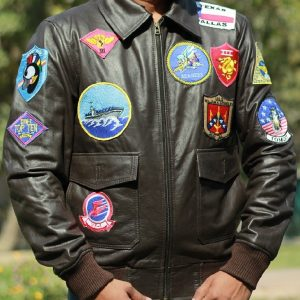 Men Wearing Stylish Different 17 Patches tom cruise top gun Bomber Jacket