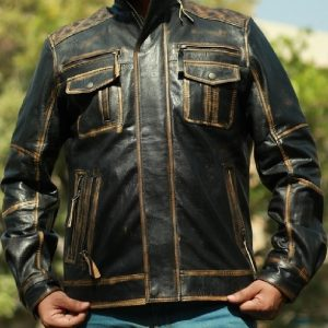 A Young Men Wearing Vintage Style Leather Jacket