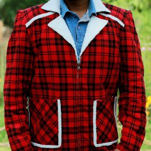 A Men Wearing Red Check Flannel Shearling Jacket