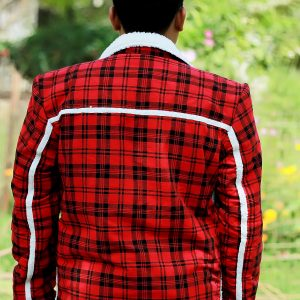 Red Check Flannel Shearling Jacket