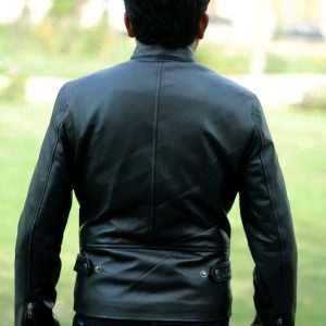 Snap Tab Collar Black Leather Jacket for Men's