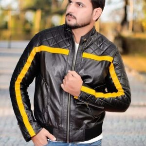 Yellow Striped Line Black leather Jacket