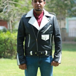Men's Classic Black And White Leather Jacket