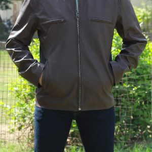 A Men Wear Classic Brown Leather Jacket