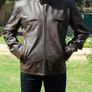 Men Wearing A Classic Brown Leather Jacket