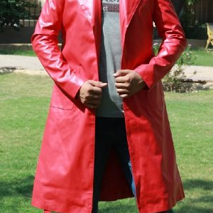 A Men Wearing Red Leather High Grade Durable Raincoat