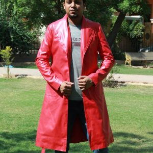 Red Leather High Grade Durable Raincoat