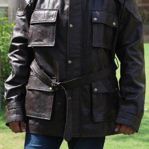 A Guy Wearing Classic 4 Flap Button Pockets Leather Jacket