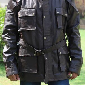 A Guy Wearing Classic 4 Flap Button Pockets Brown Leather Jacket
