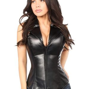 A Young Women Wear Black Leather Corset