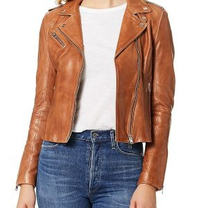 A Young Women Wearing Brown Leather Biker Jacket