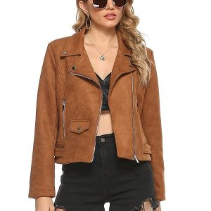 Women Wearing Brown Suede Leather Notched Lapel Collar Jacket