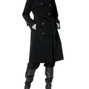 A Women Wearing Black Double-Breasted Trench Coat with Belt