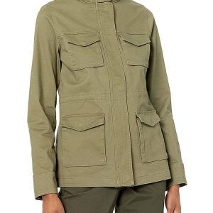 A Young Black Women Wearing Oval Green Utility Jacket